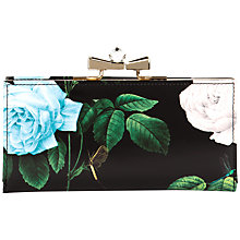 Buy Ted Baker Maryah Rose Print Leather Matinee Purse, Black Online at johnlewis.com