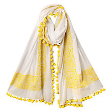Buy East Hand Embroidered Scarf, White Online at johnlewis.com