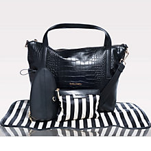 Buy BabyBeau Sophia Croc Leather Changing Bag, Black Online at johnlewis.com
