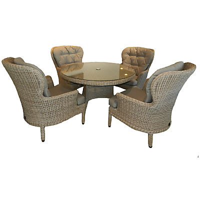 4 Seasons Outdoor Buckingham 4-Seater Round Dining Set, Pure