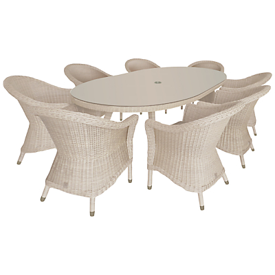 4 Seasons Outdoor Chester 8-Seater Oval Dining Set, Praia