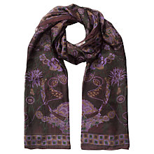 Buy Jigsaw Mosaic Silk Scarf, Damson Online at johnlewis.com