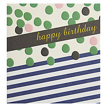 Buy Caroline Gardner Green Spot And Blue Stripes Greeting Card Online at johnlewis.com