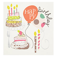 Buy Caroline Gardner Happy Birthday Cake and Balloon Greeting Card Online at johnlewis.com