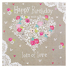 Buy Hammond Gower Roses Heart Birthday Card Online at johnlewis.com
