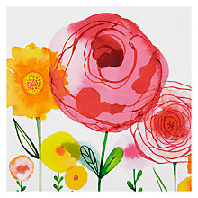 Buy Paper Rose Pink & Yellow Flowers Greeting Card Online at johnlewis.com