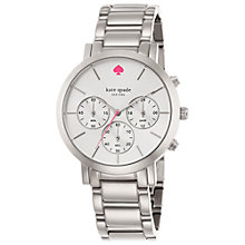 Buy kate spade new york 1YRU0714 Women's Gramercy Grand Chronograph Bracelet Strap Watch, Silver Online at johnlewis.com