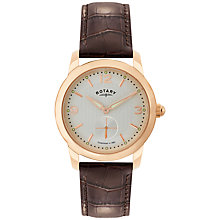 Buy Rotary GS02702/01 Men's Cambridge Leather Strap Watch, Brown/Silver Online at johnlewis.com