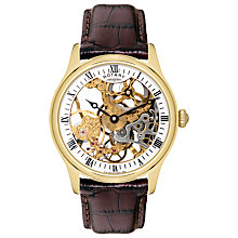 Buy Rotary GS02520/03 Men's Skeleton Stainless Steel Mechanical Watch, Brown/Champagne Online at johnlewis.com