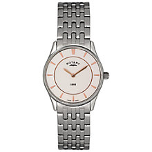 Buy Rotary LB08200/02 Women's Ultra Slim Stainless Steel Bracelet Watch, Silver/White Online at johnlewis.com