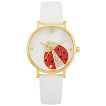 Buy kate spade new york 1YRU0747 Women's Novelty Metro Ladybird Leather Strap Watch, White Online at johnlewis.com