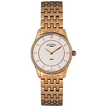 Buy Rotary LB08204/02 Women's Ultra Slim Rose Gold Plated Stainless Steel Bracelet Strap Watch, Rose Gold/White Online at johnlewis.com