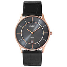 Buy Rotary GS08204/20 Men's Ultra Slim Stainless Steel Leather Strap Watch, Black Online at johnlewis.com