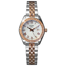 Buy Rotary LB90111/01 Women's Lucerne Rose Gold Plated Two-Tone Stainless Steel Bracelet Watch, Rose Gold Online at johnlewis.com