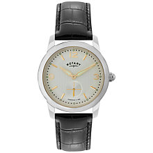Buy Rotary GS02700/06 Men's Cambridge Leather Strap Watch, Black/Silver Online at johnlewis.com