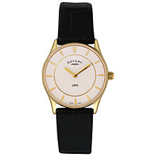 Buy Rotary LS08203/02 Women's Ultra Slim Stainless Steel Leather Strap Watch, Black/White Online at johnlewis.com
