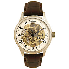Buy Rotary GS02519/09 Men's Automatic Skeleton Dial Leather Strap Watch, Brown/Champagne Online at johnlewis.com
