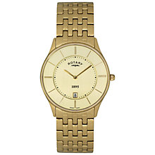 Buy Rotary GB08203/03 Men's Ultra Slim Stainless Steel Bracelet Strap Watch, Gold/Champagne Online at johnlewis.com