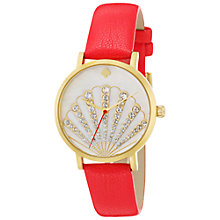 Buy kate spade new york 1YRU0760 Women's Novelty Metro Shell Leather Strap Watch, Coral/White Online at johnlewis.com
