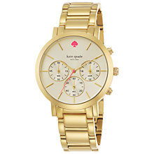 Buy kate spade new york 1YRU0715 Women's Gramercy Grand Chronograph Bracelet Strap Watch, Gold Online at johnlewis.com