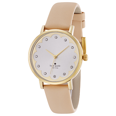 kate spade new york 1YRU0586 Metro Leather Strap Watch, Nude/White