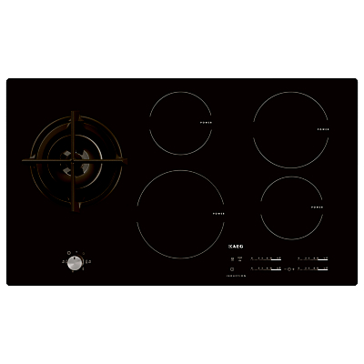 AEG HD955100NB Built-In Glass Induction and Gas Hob, Black