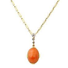 Buy Turner & Leveridge 1920s 9ct Gold Diamond Coral Pendant Necklace, Yellow Online at johnlewis.com