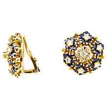 Buy Turner & Leveridge 1980s 18ct Gold Sapphire Diamond Cluster Clip-On Earrings, Gold Online at johnlewis.com