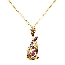 Buy Turner & Leveridge 1970s 18ct Gold Ruby Diamond Pendant Necklace, Gold Online at johnlewis.com