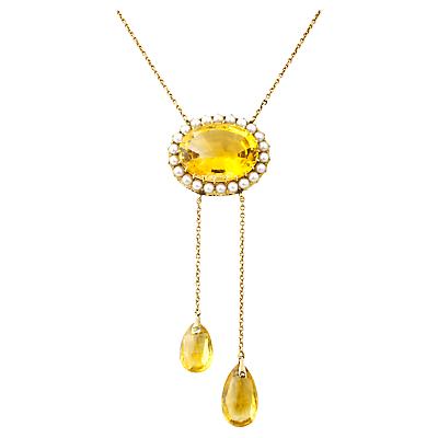 Turner  Leveridge 1900 9ct Gold Victorian Citrine Pearl Pendant Necklace Gold £1,650.00 AT vintagedancer.com