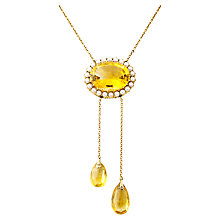 Buy Turner & Leveridge 1900 9ct Gold Victorian Citrine Pearl Pendant Necklace, Gold Online at johnlewis.com