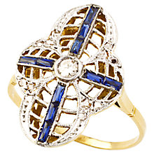 Buy Turner & Leveridge 1920s 14ct Gold Art Deco Sapphire Diamond Ring, White Online at johnlewis.com