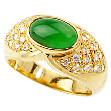 Buy Turner & Leveridge 1980s 18ct Gold Jade Diamond Ring, Green/White Online at johnlewis.com