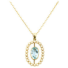 Buy Turner & Leveridge 1905 15ct Gold Aquamarine Pearl Pendant Necklace, Gold Online at johnlewis.com