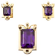 Buy Turner & Leveridge 1940s 18ct Gold Amethyst Pendant and Earrings Set, Gold Online at johnlewis.com