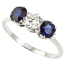 Buy Turner & Leveridge 1950s Platinum Sapphire Diamond Ring, White Online at johnlewis.com