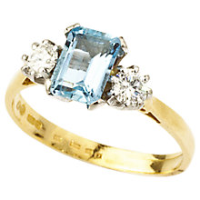 Buy Turner & Leveridge 1995 18ct Gold Aquamarine Diamond Ring, Gold Online at johnlewis.com