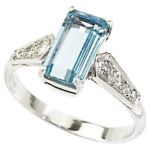 Buy Turner & Leveridge 2002 18ct Gold Aquamarine Diamond Ring, Blue/White Online at johnlewis.com