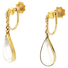Buy Turner & Leveridge 1920s 9ct Gold Moonstone Drop Earrings, Gold/White Online at johnlewis.com