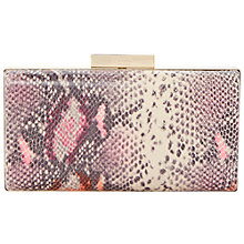 Buy Dune Binxie Leather Box Clutch Bag, Snake Online at johnlewis.com