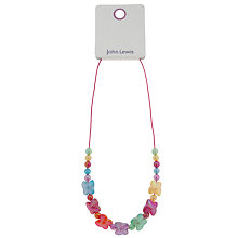 Buy John Lewis Girls' Butterfly Cord Necklace, Lilac Online at johnlewis.com