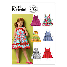 Buy Butterick Girl's Dress with Straps & Frills Sewing Pattern, 5914 Online at johnlewis.com