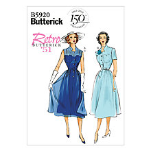 Buy Butterick Women's Retro 1951 Dresses Sewing Pattern, 5920 Online at johnlewis.com