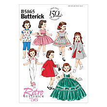 Buy Butterick Craft Dolls' Clothes Sewing Pattern, 5865, One Size Online at johnlewis.com