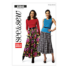 Buy Butterick Women's Skirt Sewing Pattern, 5840, A Online at johnlewis.com