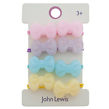 Buy John Lewis Girl Mini Double Bow Hair Elastics, Pack of 4, Multi Online at johnlewis.com