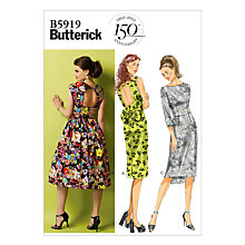 Buy Butterick Women's Open Back Dresses Sewing Pattern, 5919 Online at johnlewis.com
