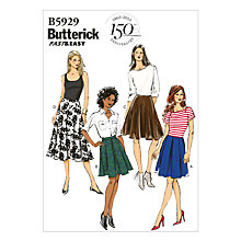 Buy Butterick Women's Pleated A-Line Skirt Sewing Pattern, 5929 Online at johnlewis.com