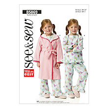 Buy Butterick Children's Nightwear Sewing Pattern, 5869, A Online at johnlewis.com
