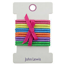 Buy John Lewis Glitter Gold Rainbow Elastic Hairbands, Pack of 12, Multi Online at johnlewis.com